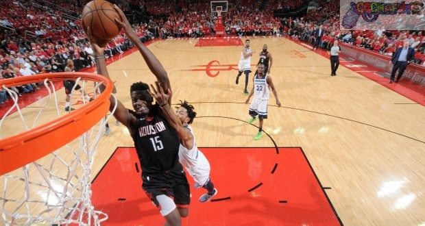 HOUSTON, TX - APRIL 25: Clint Capela #15 of the Houston Rockets goes to the basket against the Minnesota Timberwolves in Game Five of the Western Conference Quarterfinals during the 2018 NBA Playoffs on April 25, 2018 at the Toyota Center in Houston, Texas. NOTE TO USER: User expressly acknowledges and agrees that, by downloading and/or using this photograph, user is consenting to the terms and conditions of the Getty Images License Agreement. Mandatory Copyright Notice: Copyright 2018 NBAE (Photo by Bill Baptist/NBAE via Getty Images)